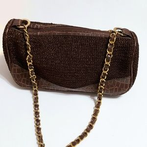 Cache Big Buddha purse brown metallic chain